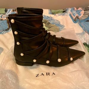 ZARA Ankle Boots with Pearls